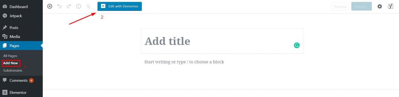 page builder wordpress elementor start