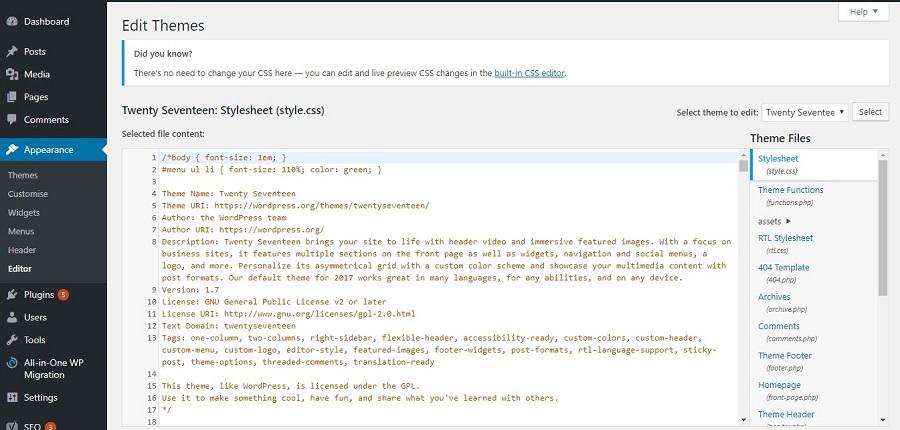 wordpress theme editor aspetto