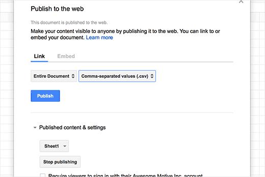 creare grafico wordpress con google