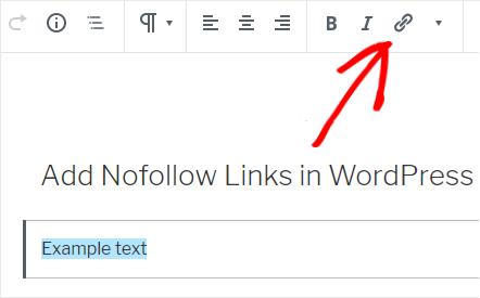 aggiungere link nofollow in wordpress con gutenberg
