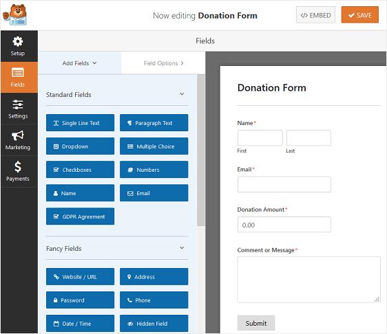 wpforms-modulo-di-donazione