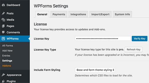 aggiungere-license-key-wpforms
