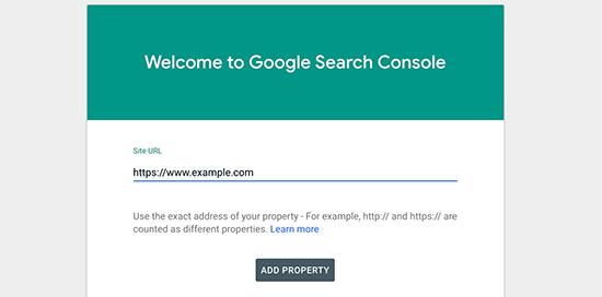 aggiungere sito web in google search console