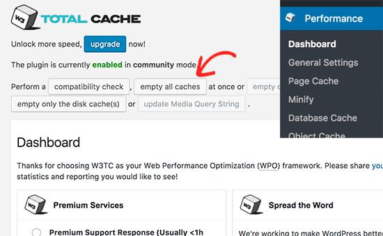come-cancellare-la-cache-in-wordpress-con-w3-total-cache