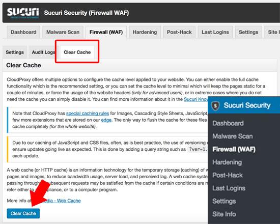come-eliminare-la-cache-in-wordpress-firewall-securi