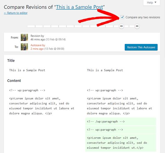 confrontare-due-revisioni-post-in-wordpress