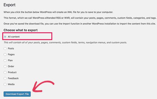 esportare-wordpress-com