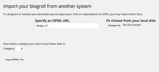 Importing Opml File Wpcom Wporg