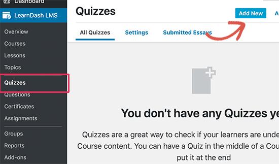 Add Quizzes