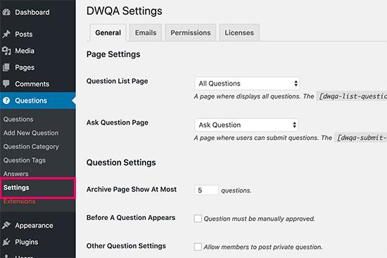Settingspage Dwrq