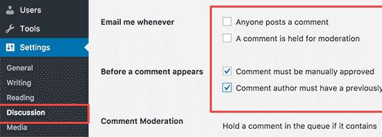 Commentsettings