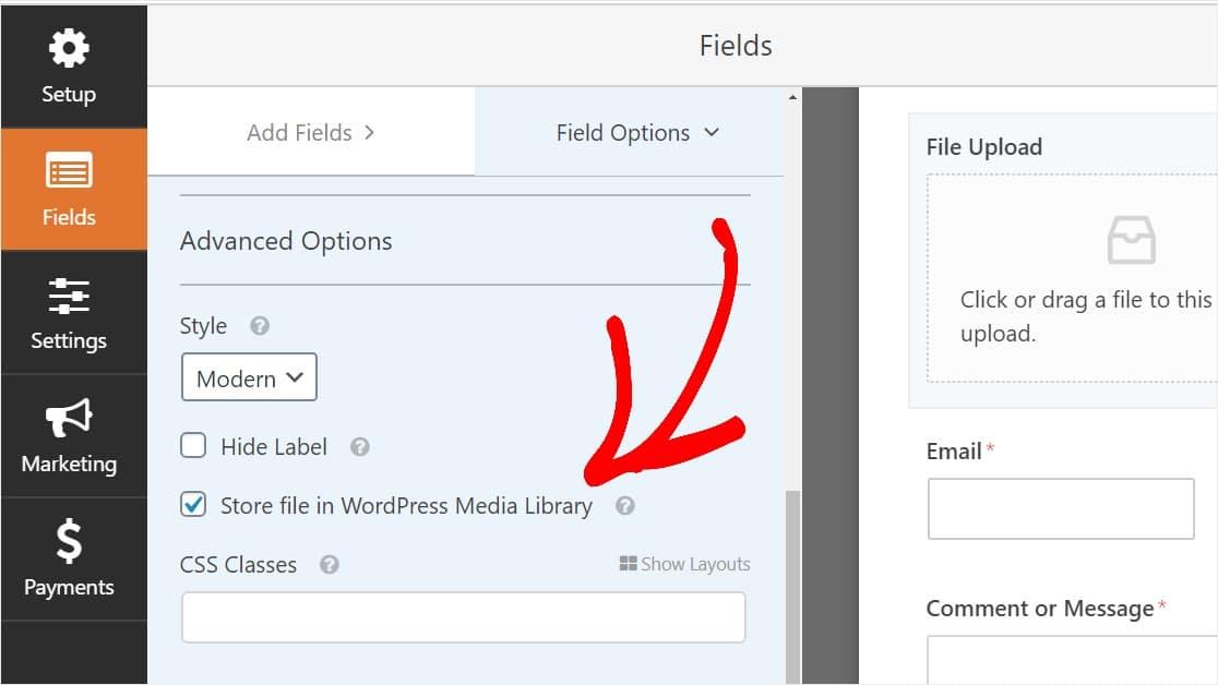 Check Box To Store Uploads In Wordpress Media Library