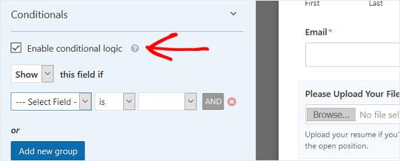 Conditional Logic Per File Upload Form