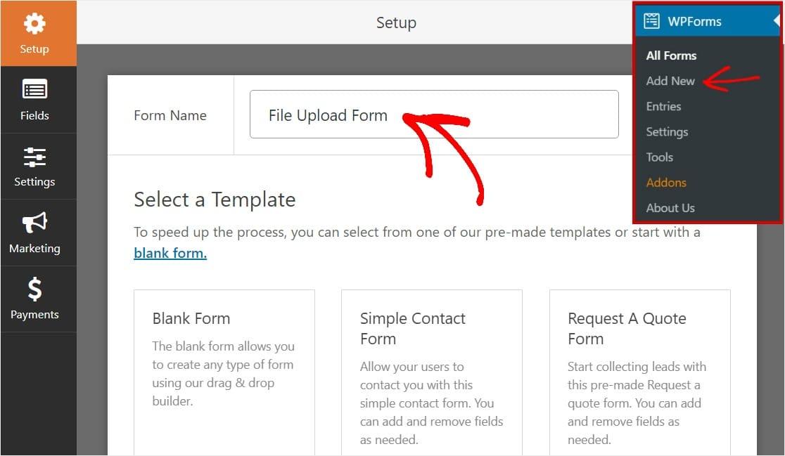 Name File Upload Form