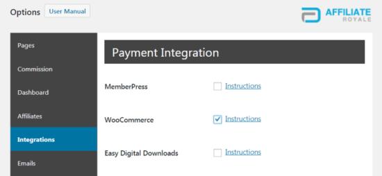 Affiliate Royale Woocommerce Integration