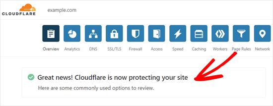 Cloudflareactivatedsuccessmessage