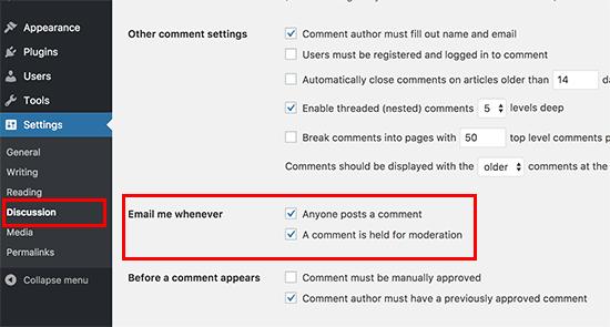 Default Comment Settings