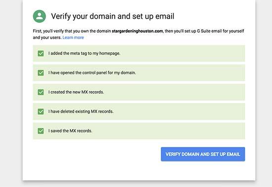 Verifydomainsetup