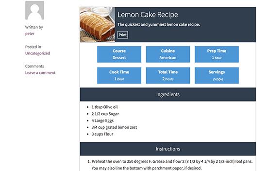 Recipe Preview