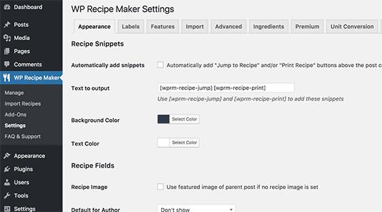 Recipemaker Settings