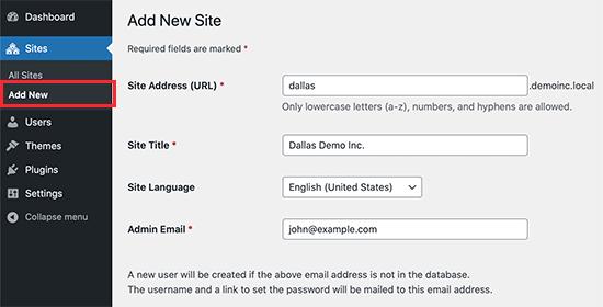 Createnewsite In Multisite Wordpress