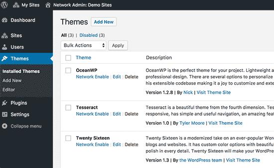Installedthemes Wordpress Multisite
