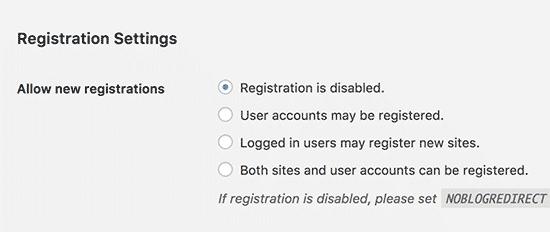 Registrationsettings