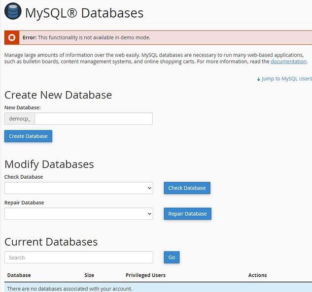 Create New Database Cpanel