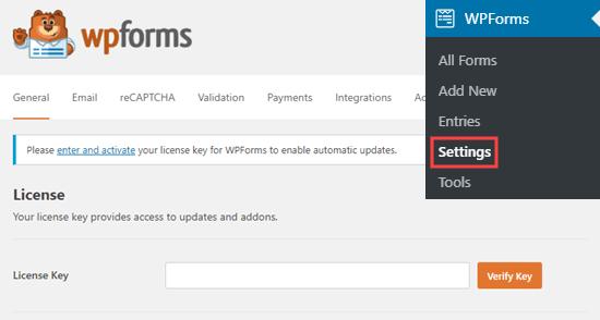 Enter Wpforms License