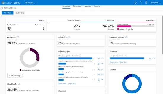 Microsoft Clarity Dashboard