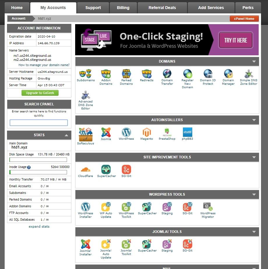 Siteground Cpanel Interface