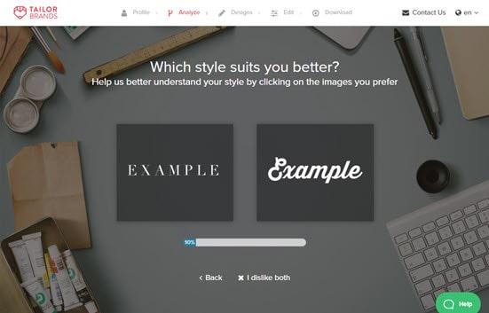 Tailor Brands Choosing Style