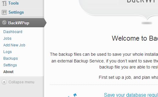 Backwpup Welcome