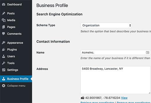 Businessprofile Settings