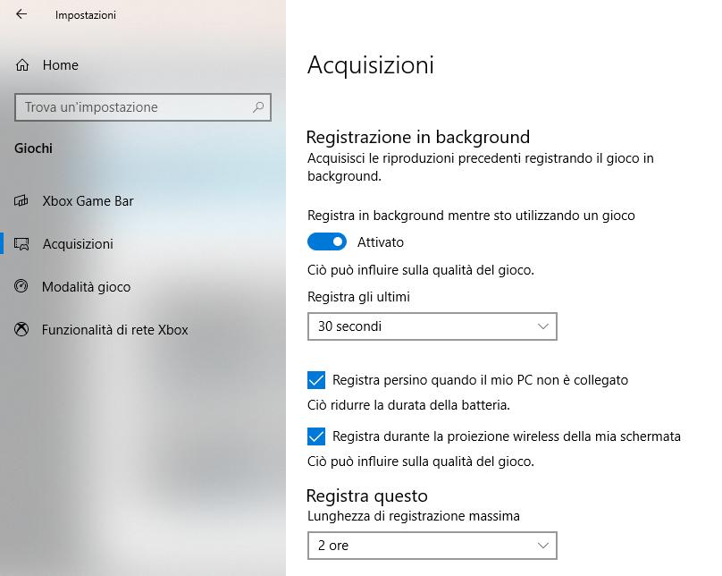 Registrare Schermo Pc In Background Windows 10