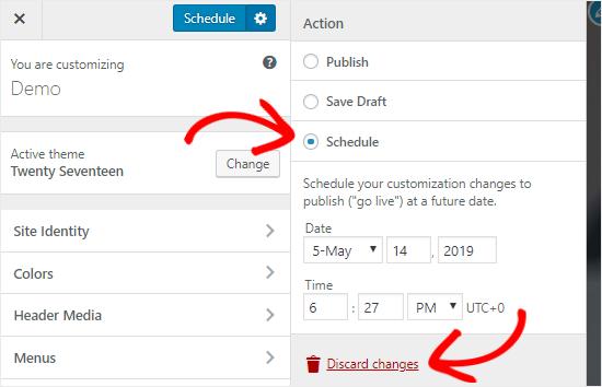 Schedule Customizer Settings