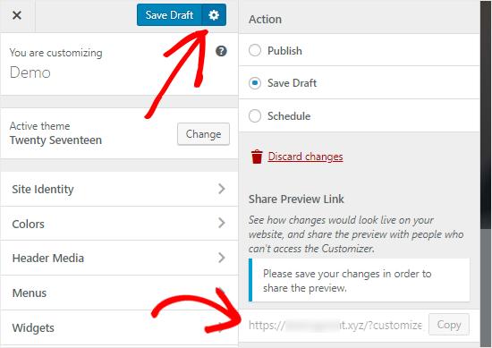 Wordpress Customizer Save Draft