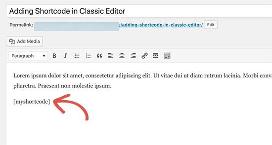 Shortcode Classic Editor