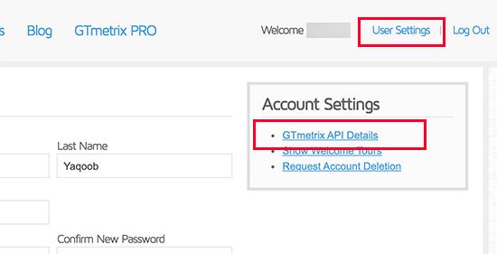Gtmetrix Acc Settings