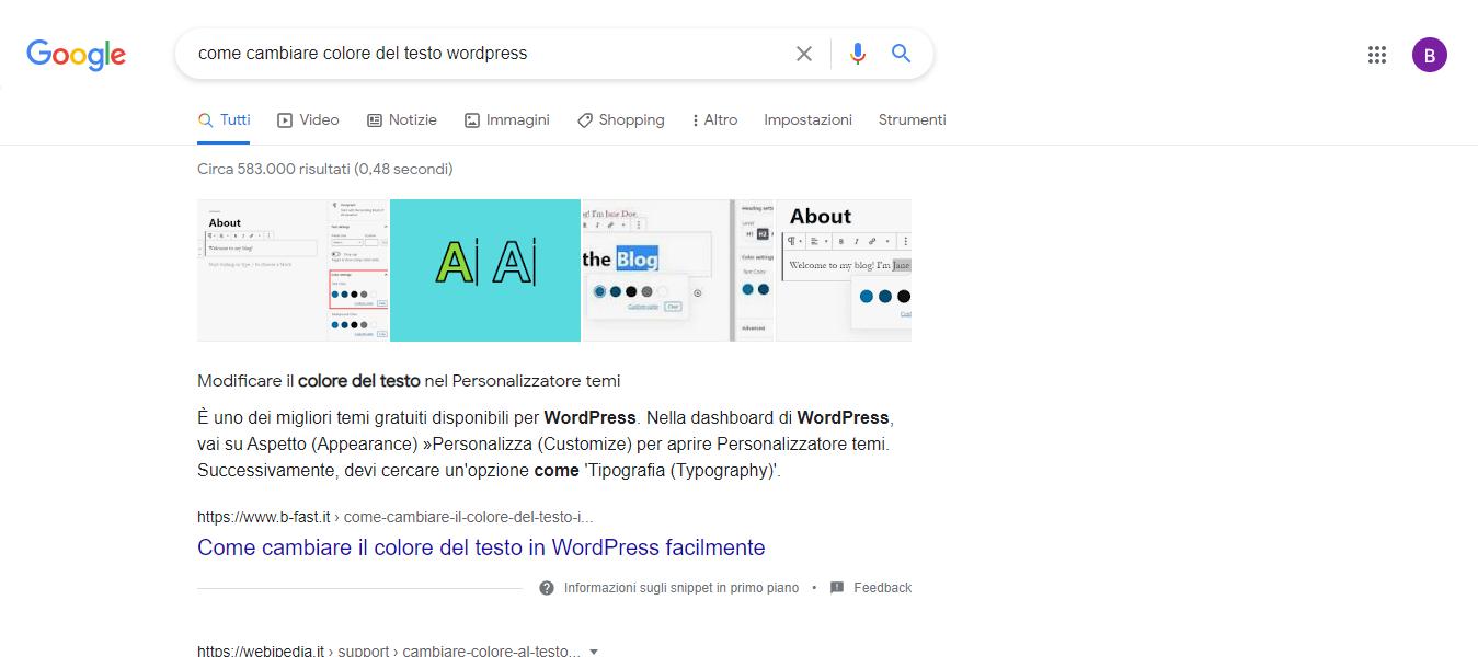 Snippet In Primo Piano Google