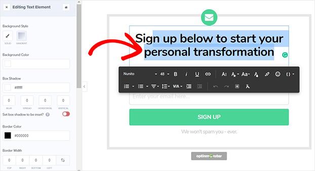 Transform Template Inline Texit Edit