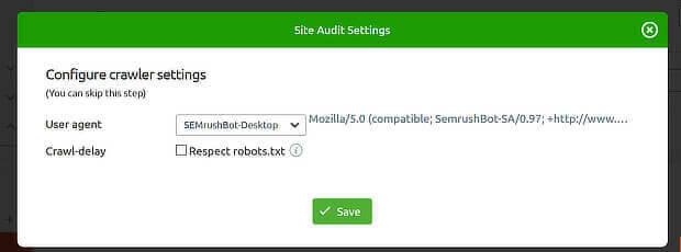 Semrush Change User Agent 2