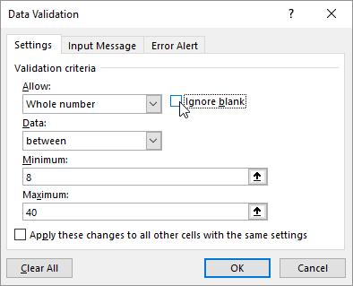 Convalida Dati Excel