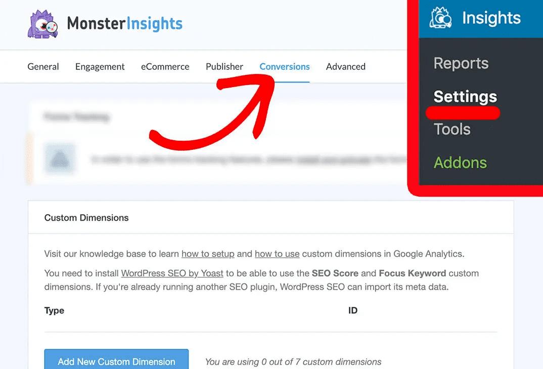 Conversion Settings Custom Dimension Monsterinsights