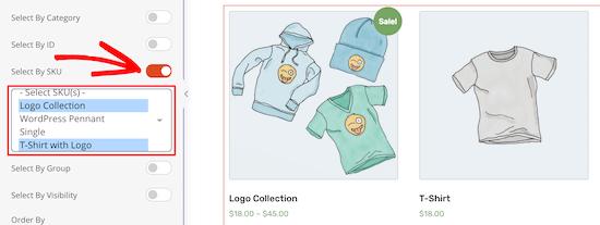 Select Product Skus