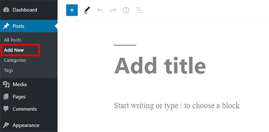 Add New Post Block Editor