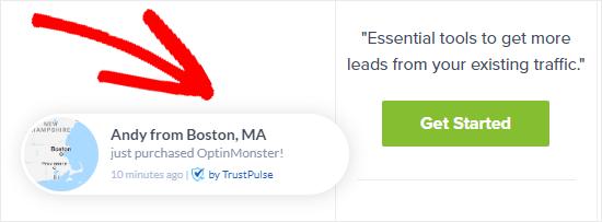 Optinmonster Trustpulse Example