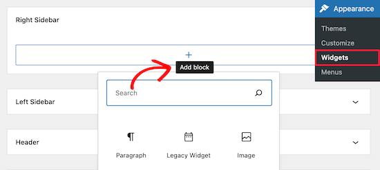Add Widget Block