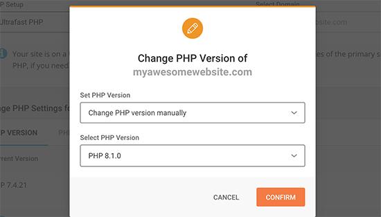 Changephpversionsiteground