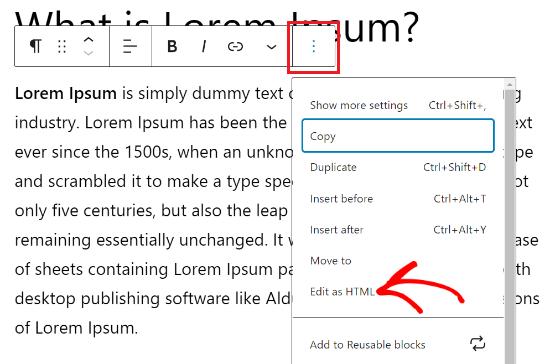 Click The Three Dots And Select Edit As Html
